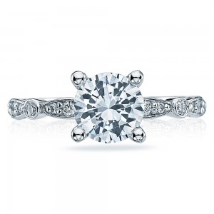 47-2RD7 Platinum Tacori Sculpted Crescent Engagement Ring