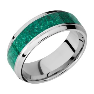 Lashbrook CC8B15(S)/MALACHITE Cobalt Chrome Wedding Ring or Band