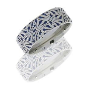 Lashbrook CC8B/LCVESCHER2 BLUE E-COAT POLISH Cobalt Chrome Wedding Ring or Band