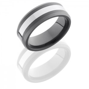Lashbrook TCR8335 Polish-SandBlast Ceramic Wedding Ring or Band