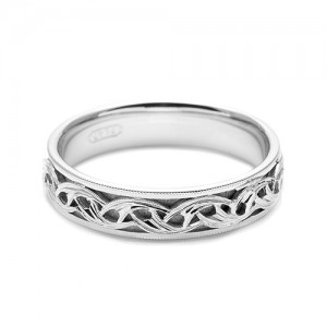 Tacori Platinum Hand Engraved Wedding Band HT2404