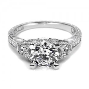 Tacori Hand Engraved 18 Karat Engagement Ring HT2330