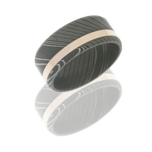 Lashbrook D9B12OC-14KR ACID Damascus Steel Wedding Ring or Band
