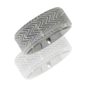 Lashbrook D9BZEBRA POLISH Damascus Steel Wedding Ring or Band