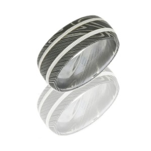 Lashbrook D9D21-SS2MIL ACID Damascus Steel Wedding Ring or Band