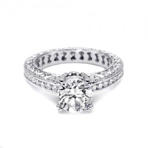 Tacori Platinum Crescent Engagement Ring HT2326SOL12