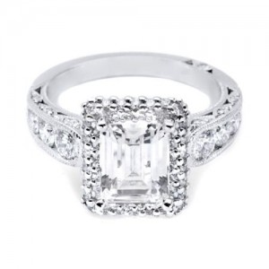 HT2521EC85X65 Tacori Crescent Platinum Engagement Ring