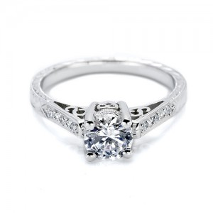 Tacori Platinum Hand Engraved Engagement Ring HT2202