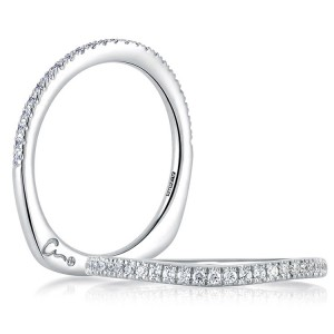 A.JAFFE Art Deco Collection Signature Platinum Diamond Wedding Ring MRS333 / 18