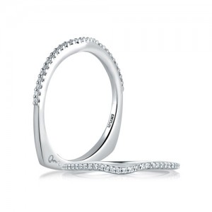 A.JAFFE Signature Platinum Diamond Wedding Ring MRS178 / 14