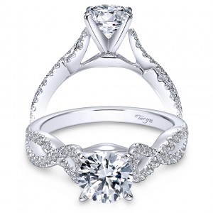 Taryn 14k White Gold Round Twisted Engagement Ring TE7805W44JJ