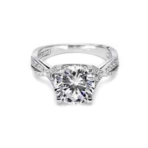 Tacori Platinum Crescent Silhouette Engagement Ring 2565RD4.5