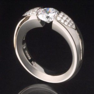 Kretchmer Platinum Pave Ush Tension Set Ring