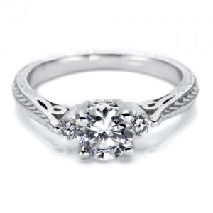 Tacori Platinum Hand Engraved Engagement Ring HT2207