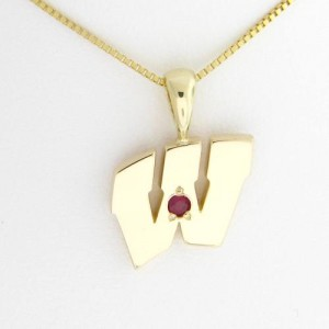 "UW Motion ""W"" 14 Kt Yellow Gold Pendant - Medium with Ruby"