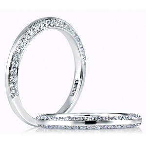 A.JAFFE Art Deco Collection Classic Platinum Diamond Wedding Ring MR1543 / 37