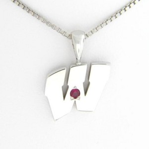 "UW Motion ""W"" 14 Kt White Gold Pendant - Medium with Ruby"