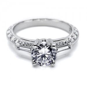 Tacori Hand Engraved 18 Karat Engagement Ring HT2350