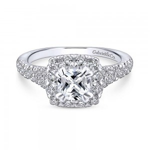 Gabriel 14 Karat Cushion Cut Halo Engagement Ring ER12835C4T44JJ