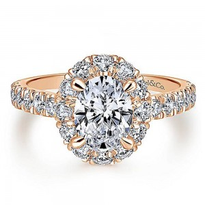 Gabriel 14 Karat Oval Halo Engagement Ring ER12647O4K44JJ
