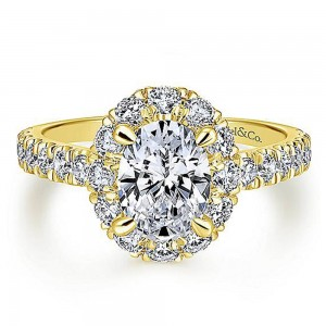 Gabriel 14 Karat Oval Halo Engagement Ring ER12647O4Y44JJ