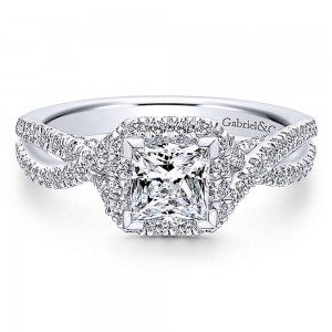 Gabriel 14 Karat Princess Cut Halo Engagement Ring ER12600S3W44JJ