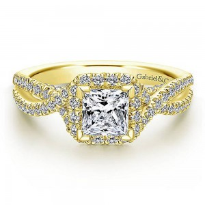 Gabriel 14 Karat Princess Cut Halo Engagement Ring ER12600S3Y44JJ