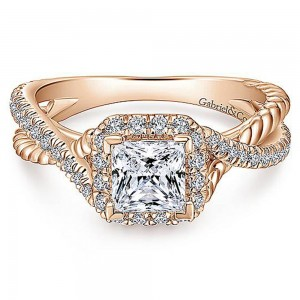 Gabriel 14 Karat Princess Cut Halo Engagement Ring ER12627S3K44JJ