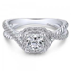 Gabriel 14 Karat Princess Cut Halo Engagement Ring ER12627S3W44JJ