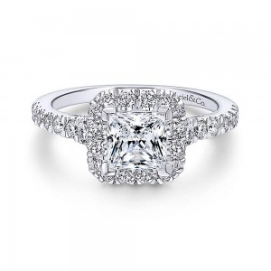 Gabriel 14 Karat Princess Cut Halo Engagement Ring ER12836S4W44JJ