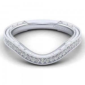 Gabriel 14 Karat White Gold Curved Wedding Band WB12581R4W44JJ