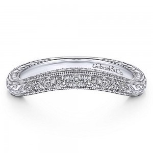 Gabriel 14 Karat White Gold Curved Wedding Band WB14482R4W44JJ