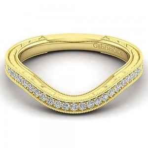 Gabriel 14 Karat Yellow Gold Curved Wedding Band WB12581R4Y44JJ