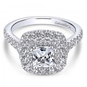 Gabriel 18 Karat Cushion Cut Halo Engagement Ring ER13861C4W84JJ