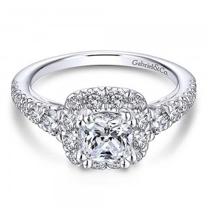 Gabriel 18 Karat Cushion Cut Halo Engagement Ring ER13882C4W84JJ