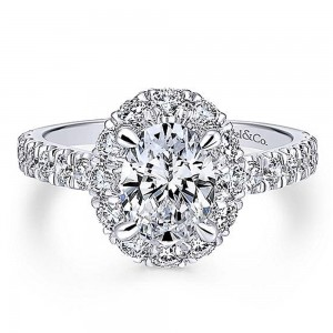 Gabriel 18 Karat Oval Halo Engagement Ring ER12647O4W84JJ