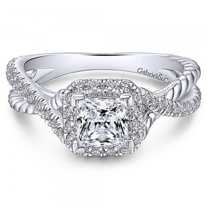 Gabriel 18 Karat Princess Cut Halo Engagement Ring ER12627S3W84JJ