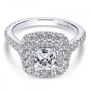 Gabriel Platinum Cushion Cut Halo Engagement Ring ER13861C4PT4JJ