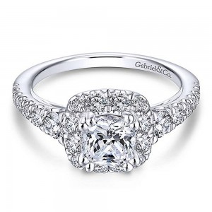 Gabriel Platinum Cushion Cut Halo Engagement Ring ER13882C4PT4JJ