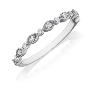 Henri Daussi WBGC Bead Set Diamond Wedding Ring with Milgrain