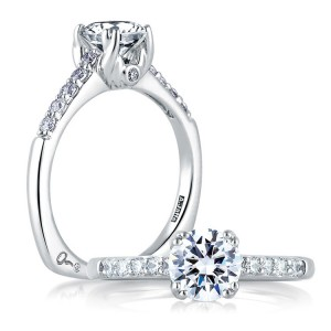 A Jaffe 14 Karat Signature Engagement Ring MES097