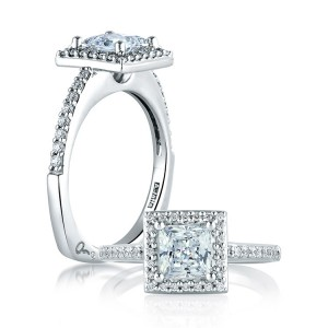 A Jaffe 14 Karat Signature Engagement Ring MES167