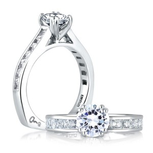 A Jaffe 14 Karat Signature Engagement Ring MES176