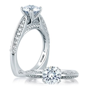 A Jaffe 14 Karat Signature Engagement Ring MES200