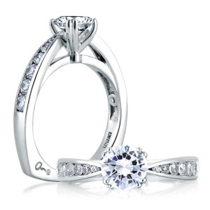 A Jaffe 14 Karat Signature Engagement Ring MES233