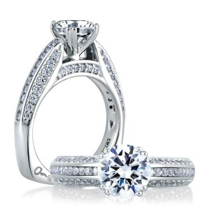 A Jaffe 14 Karat Signature Engagement Ring MES235