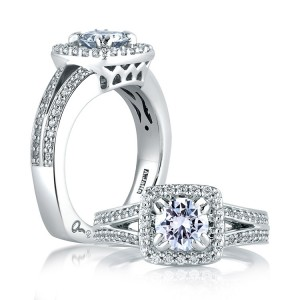 A Jaffe 14 Karat Signature Engagement Ring MES264