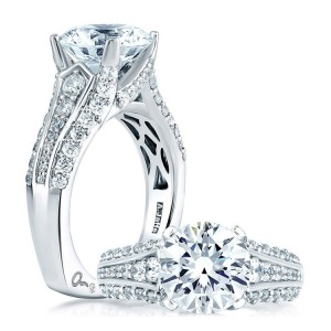 A Jaffe 14 Karat Signature Engagement Ring MES267