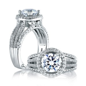 A Jaffe 14 Karat Signature Engagement Ring MES268