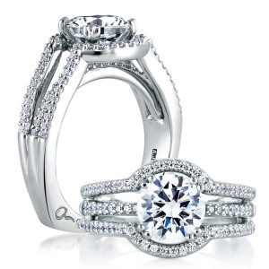 A Jaffe 14 Karat Signature Engagement Ring MES273